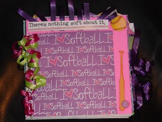 Softball Paper Bag Scrapbook Album