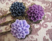 In Bloom: Vintage Inspired Hair Pin Set - Plum, Lavender, & Navy Dahlia Flowers on Antique Bronze Filigree Bobby Pin / Hair Accessory