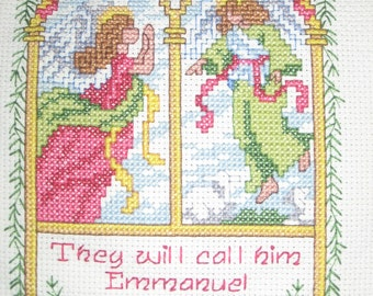 Christmas Angels, Cross-Stitch, Handmade and Ready to Ship