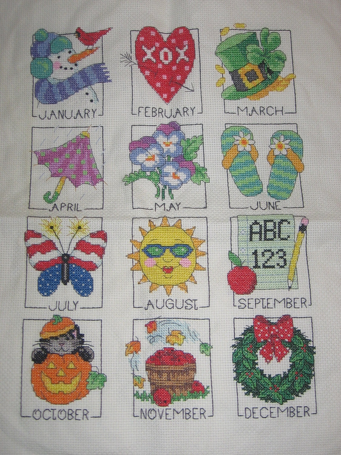 Holidays and Seasons of the Year Cross Stitch Handmade and