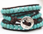 Turquoise leather wrap bracelet with silver plated button. Gemstone jewellery. Triple wrap leather bracelet. Beaded wrap. WSR3v009