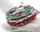 American flag bracelet. Triple wrap leather bracelet with red coral, white and blue turquoise. Americana. WFN3v001