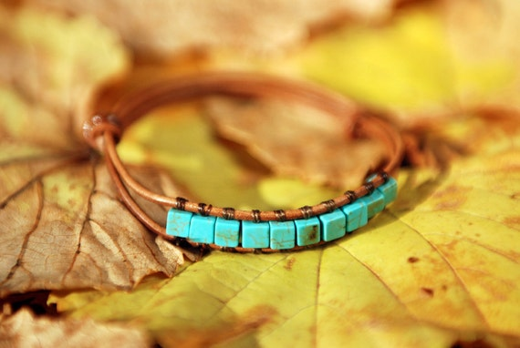 Turquoise cube beads adjustable brown leather bracelet. AB010