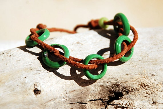 Mint green glass rings leather bracelet with african button. BLK002