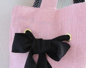 Pink Linen Tote Bag - Polkadots - Bow and Ribbon - Summer Bag - Rockabilly Style