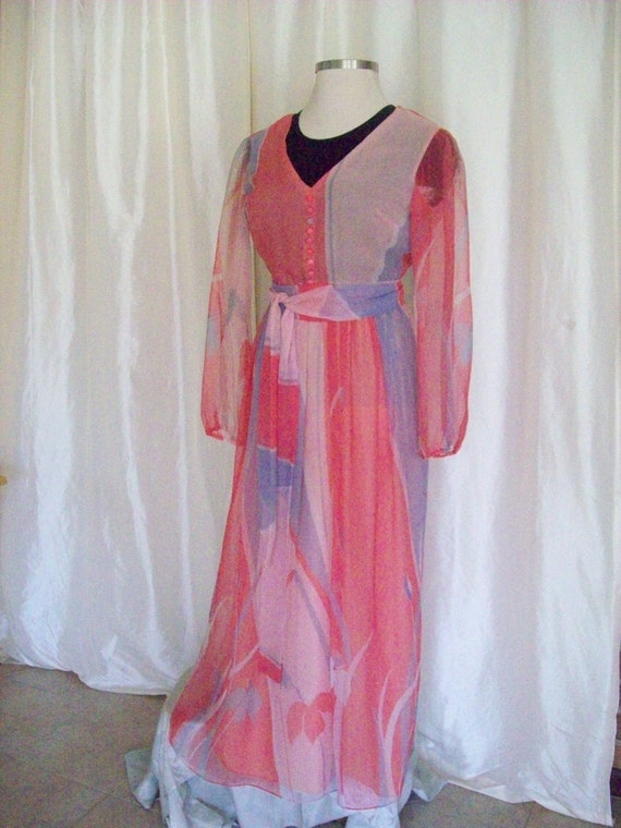 Vintage 60s ladies gown dress pink coral lavender Miss Elliette