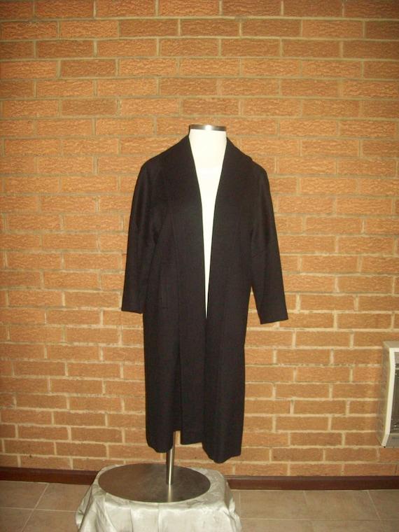 Vintage black wool shawl collar coat