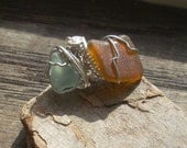 light blue and brown wire wrapped seaglass ring