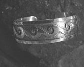 "Native American ""Water Pattern"" Ladies Sterling Silver Cuff Bracelet"