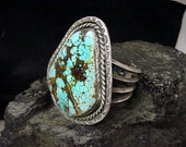Large Silver and Turquoise Womans Navajo, Native American vintage Bracelet