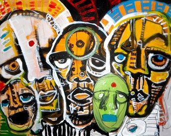 The Family II / Painting of faces on canvas