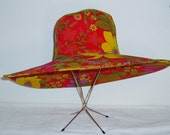 Vintage Sun Hat - Bright and Bold Floral Pattern - Society Hill - Easter Hat