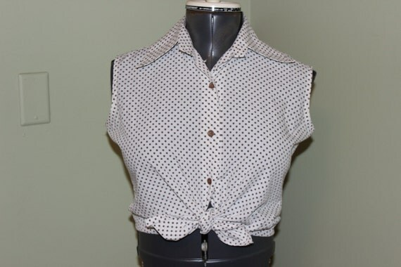 Vintage 60s Rockabilly White with Brown Polka Dot Button Down Sleeveless Blouse - S/M