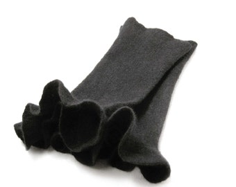 Felted arm warmers - natural black merino wool wrist warmers - felted gloves - pulse warmers