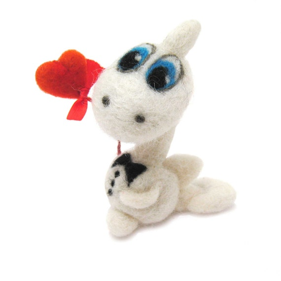 Felted dragon with red flower - Valentine's day gift - handmade