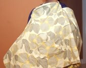 Nursing Cover in Soft Yellows and Greys with Detachable Burp Cloth and Pockets on Both Sides