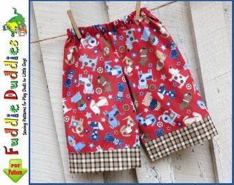 Fuddie Duds Boy's Pants Pattern. Boys Sewing Pattern. Superhero Pants, Ankle Biter Beach Shorts, Short Shorts, Lounge pants. Pajamas Pattern