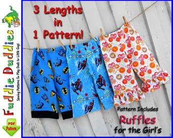 Fuddie Duds...Boy's Pants Pattern. INSTANT DOWNLOAD Superhero Pants, Ankle Biter Beach Shorts, Short Shorts, Lounge pants, Ruffle Pants.