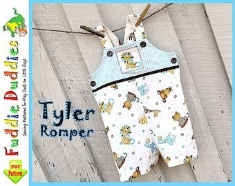Tyler...Baby Boy's Romper pattern, Jon Jon Pattern, Longall pdf sewing pattern. INSTANT DOWNLOAD. Short and Long Romper Pattern, NB to 18mo.