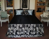 Black Satin queen spread with coordinating print skirt and 2 zippered pillow covers
