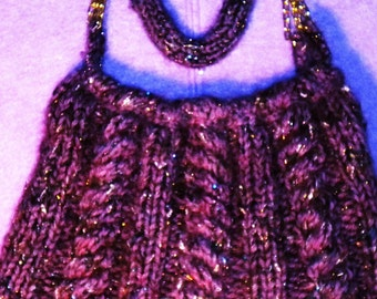 Hand knitted evening bag
