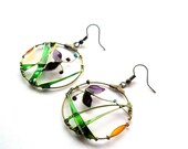 Colorful Butterfly Circle Earrings