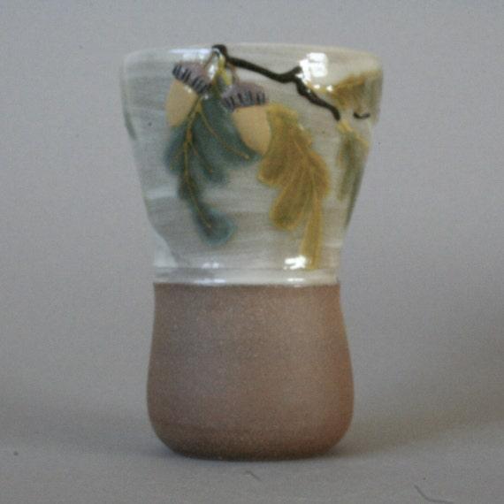 oak leaf stoneware tumbler