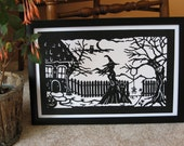 PRINT Witch, Ghost, Owl and Spider Paper Cut Halloween