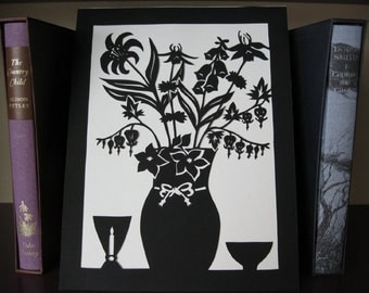PRINT Wildflowers Silhouette: Columbine, Lilies, Foxglove Schnerenschnitte Wall Art