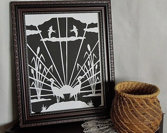 Heron in Marsh Reeds Art Deco Paper Cut  Silhouette Wall Art