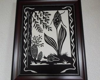 PRINT Forest Wildflower and Mushrooms Folk Art Papercut