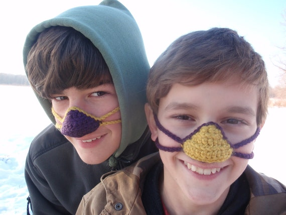 Crocheted Nose Warmer- Purple and Gold MN VIKINGS!!!