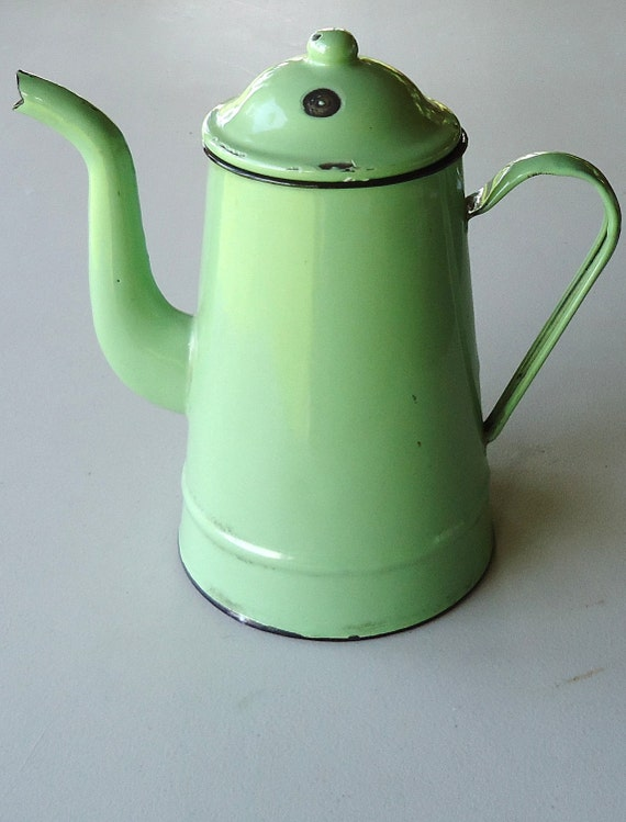 Enamel, Green, Vintage, Cottage, Cabin, Coffee Pot, Country, Western, Cottage Chic, Fireside