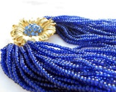 Cobalt Blue Seed Bead Torsade Necklace with Gold Flower Rhinestone Clasp