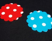 Scalloped Circle Cut Outs In Red and Aqua
