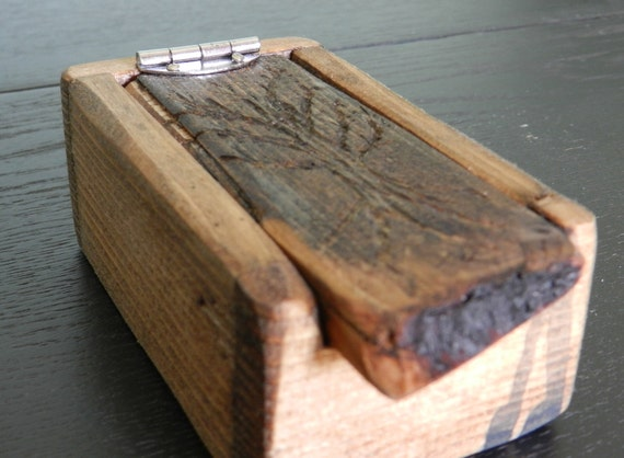 Small Rustic wooden box with carved tree