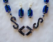 Bright Blue Necklace Drop Earrings Amazing Artisan Jewelry Sparkling Geometric Beaded Bib Pendant Statement Necklace Dazzling Gifts for Her