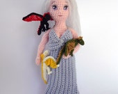 Daenerys with her baby dragons,crocheted doll set
