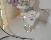 White feather butterfly and crystal light-catcher with stand included