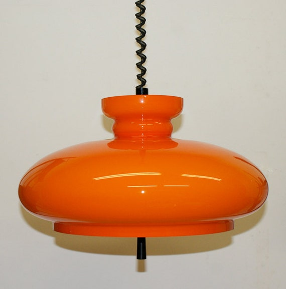 A very nice Space Age Orange glass pendant lamp