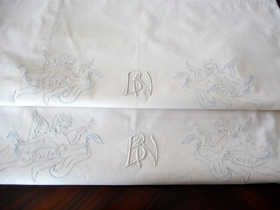 Vintage linen monogrammed pillow shams, a pair embroidered with angels