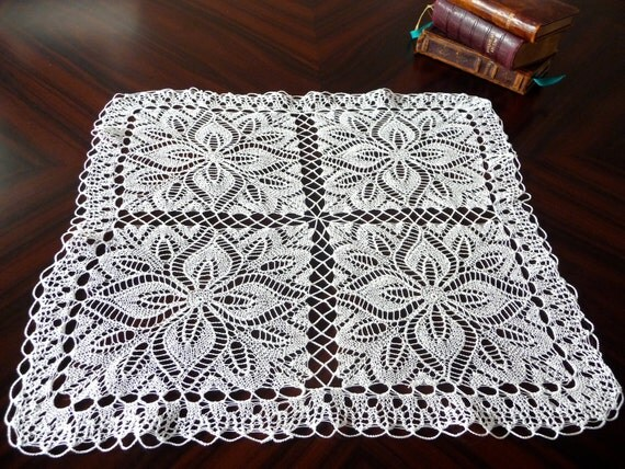 Vintage belgian knitted lace square