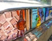 Arched Stained Glass Collage, Suncatcher, Small Lighthouse
