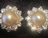 BRIDAL JEWELRY  Vintage Pearl and Crystals Screwback Earrings