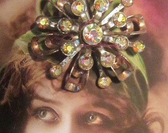 Vintage Aurora Borealis Flower Brooch