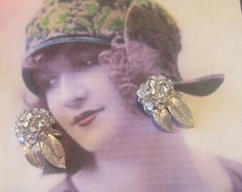 Vintage Silver Flower Clip Earrings