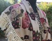 vintage 80's rose shawl with fringe