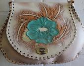 vintage 70's painted leather shoulder bag