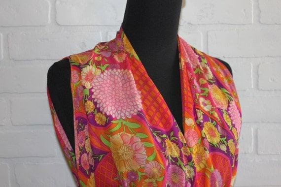 vintage 60's floral maxi wrap dress/vest