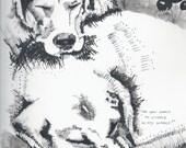 SAMPLE Custom Double Pet Portrait - Mavis and Beans